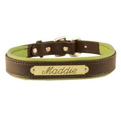 Loving this personalized leather dog collar. BD would look so classy. Can't decide between brown/pink & brown/lime!