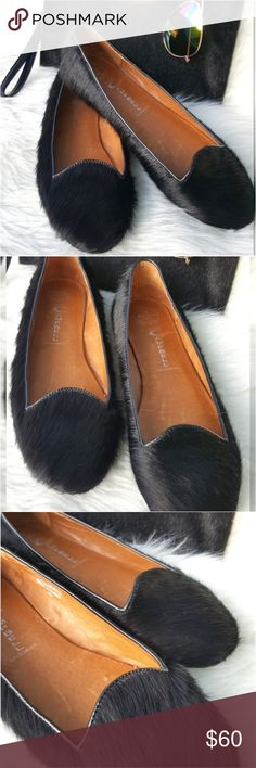 Jeffrey Campbell Hair On Hide flats In excellent used condition, long black hair on hide flats. Look best worn with short skirts, skinny jeans, and shorts with a dressy top. Jeffrey Campbell Shoes Flats & Loafers