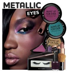 """Metallic Eyes"" by lunachick ❤ liked on Polyvore featuring güzellik, MAKE UP FOR EVER, Charlotte Tilbury, Illamasqua, tarte, Clarins, H&M ve OPI"