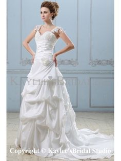 Taffeta and Lace Sweetheart Chapel Train Ball Gown Wedding Dress with Embroidered