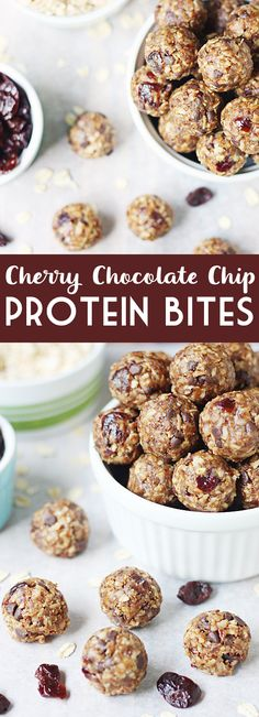 Cherry Chocolate Chip Protein Bites -- The hint of tart cherry is the perfect compliment to the peanut butter and chocolate. | halfscratched.com #recipe #healthyrecipes