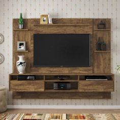 Home Suspenso Status P/ Tv Até 60 2 Gavetas - Valdemóveis Cor:Ipê Tv Unit Interior Design, Tv Unit Furniture Design, Tv Wall Design, Tv Unit Decor, Tv Wall Decor, Tv Wanddekor, Living Room Tv Unit Designs, Tv Wall Unit Designs, Bedroom Tv Wall