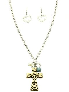 Necklace And Earring Set Cross Charm Natural Stone Pearl Metal Chain Love Heart Hammered Metal 18 Inch Long 2 Inch Drop