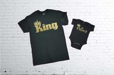 King and Prince T-shirt.King T-shirt. Prince T-shirt. Father and Son T-shirts. Father and Daughter T-shirt. Fathers Day Matching Set by SuperTeesandHats on Etsy