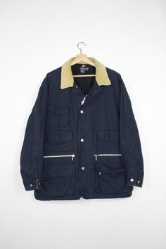 1877e89f505 NAUTICA hunting jacket   wool flannel lined - navy blue canvas corduroy    army military   workwear chore coat   outdoors   mens large