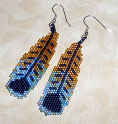 native american beaded earrings | Native American Beaded Earrings Feathers in Blue, Browns & Black