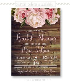 Rustic Floral Bridal Shower Invitation Shabby by shopPIXELSTIX