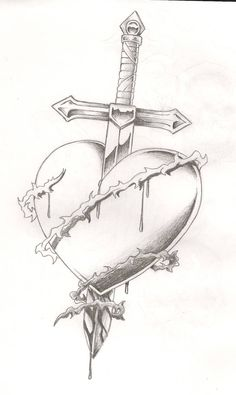 Sword bleeding rose tattoo – yahoo image search results - Lombn Sites Sad Drawings, Dark Art Drawings, Tattoo Design Drawings, Art Drawings Sketches Simple, Pencil Art Drawings, Drawings Of Hearts, Bleeding Rose, Broken Heart Tattoo, Sword Drawing