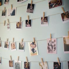 Use clothespins to hang photos