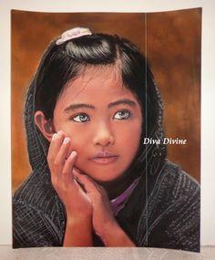 Peinture Pastel Sec pour Tableau Bohème Ethnique Indien, Portrait ° ÂLIYA ° - PEINT A LA MAIN