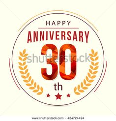 30 Years Anniversary with Low Poly Design and Laurel Ornaments - stock vector