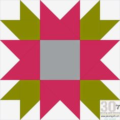"Piece N Quilt: How to: Flower Star Quilt Block - 30 Days of Sewing Quilt Blocks- Star Version!...This block will finish at 12""x12"" square."