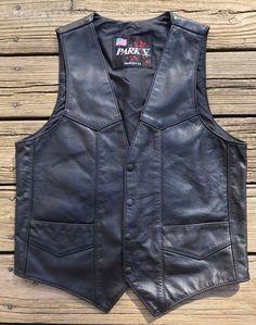Vintage PARK V Black Leather Rockabilly Motorcycle Biker Vest Men's Medium (40) #ParkV #Motorcycle