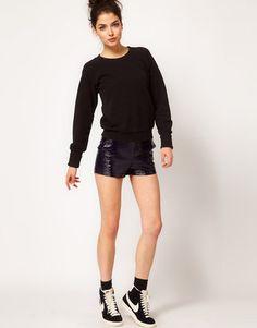 ShopStyle: ASOS WHITE Cracked PU Shorts