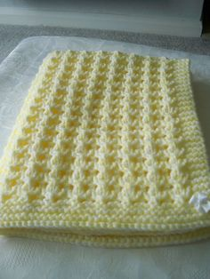 Beautiful Hand Knitted chunky Baby Blanket Lemon and White with White Satin Bows