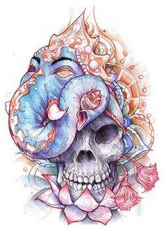 Ganesh and a skull tattoo design. #tattoo #tattoos #ink