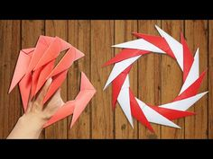 Origami Easy - How to make Dragon Claws & Paper Ninja Star shuriken 14 points - tutorial Origami Wreath, Instruções Origami, Origami Dragon, Origami Fish, Oragami, Shuriken, Cool Paper Crafts, Paper Crafts Origami, How To Make Origami