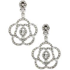 Oscar de la Renta Pave Crystal Flower Clip-On Earrings ($325) ❤ liked on Polyvore