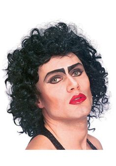 Adult Rocky Horror Frank N. Furter Wig - Rocky Horror Picture Show Costume Accessories Rocky Horror Show, Columbia Rocky Horror, Rocky Horror Picture Show Costume, Rocky Horror Costumes, Black Curly Wig, Black Wig, Costume Wigs, Costume Makeup, Rocky Horror Characters