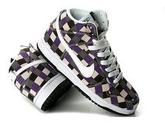huge selection of a189f 6121d Cheap Nike Dunk High Top Tops White Black Purple Checker Pattern Shoes For  Sale