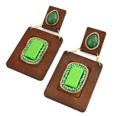 """Wooden Dangle Earrings ; 4"""" Drop; Brown wood with Gold metal; Green beads and center stone; Eileen's Collection. $19.99"""