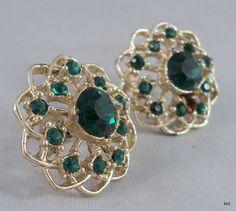 Vintage Filigree Round Earrings Sparkly Green Rhinestones Screw-backs -Estate #Unsigned #Cluster