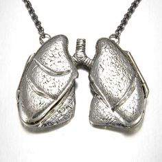 Lung locket by Peggy Skemp.  Anatomically correct jewelry.