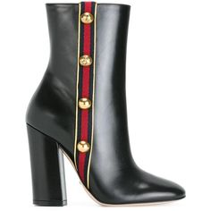 Gucci Leather Ankle Boots (€490) ❤ liked on Polyvore featuring shoes, boots, ankle booties, gold, leather bootie, black boots, black ankle boots, short boots and black bootie