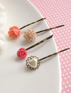 Pink Floral Garden Hair Bobby Pins