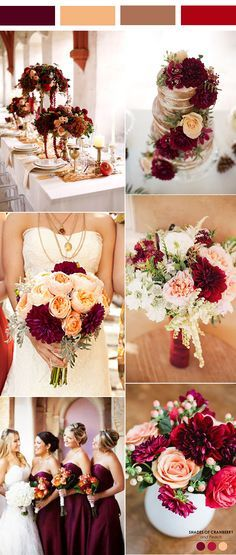 vintage burgundy, peach and brown wedding color inspiration.jpg vintage burgundy, peach and brown wedding color inspiration. Wedding Color Combinations, Fall Wedding Colors, Autumn Wedding, Wedding Color Schemes, Wedding Day, February Wedding Colors, Peach Wedding Theme, Summer Wedding, Budget Wedding