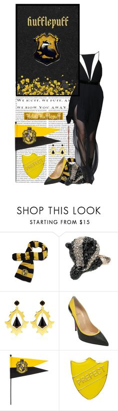 """""""House Hufflepuff"""" by jleigh329 ❤ liked on Polyvore featuring Accessorize, Juicy Couture, Christian Louboutin, CO and Luna"""