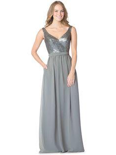 @Belle the Magazine Bridesmaids Gallery | Bari Jay Spring 2016 Collection | Floor Silver A-Line V-Neck $$ ($101-250)
