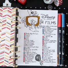 Page from my Blu-ray and Steelbook collection of Disney / Pixar in my planner b . - Bullet journal İdeas in 2019