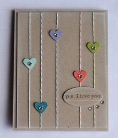 Sew Cute I Love You Card...with stitching & hearts.