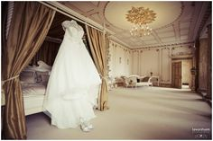 Wedding Dress Hanging in Rococco Suite, Gosfield Hall