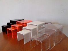 prateleira cubo nicho acrílico vitrine colorido 3 peças