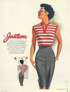 Deana fashion Illustration by Pete Hawley, April Jantzen ad, Seventeen. Vintage Mode, Moda Vintage, Vintage Style, 1940s Fashion, Fashion Art, Vintage Fashion, Vintage Pants, Vintage Dresses, Retro Outfits