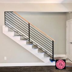 Just installed contemporaryart stairrailing handrail stairs jsmironworks flippinghouses is part of Modern stair railing - Exterior Stair Railing, Staircase Railing Design, Modern Stair Railing, Home Stairs Design, Stair Handrail, Modern Stairs, Metal Handrails For Stairs, Cable Stair Railing, Interior Railings