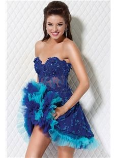 Gorgeous Strapless Belt Ruffles Prom Prom Dresses