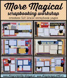 More Magical Scrapbooking workshop from Chris' Creative life Disney Scrapbook Pages, Pocket Scrapbooking, 12x12 Scrapbook, Scrapbook Designs, Scrapbook Sketches, Scrapbooking Layouts, Picture Scrapbook, Couple Scrapbook, Disney Magic Kingdom