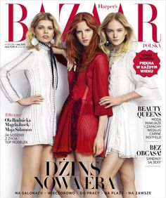 Ola Rudnicka, Magdalena Jasek and Maja Salamon for Harper's Bazaar Poland May 2015