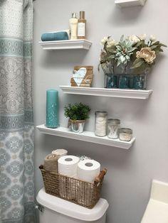 Decorating bathroom shelves, small bathroom ideas, bathroom storage o Diy Bathroom, Bathroom Ideas, Master Bathroom, Bathroom Small, Bathroom Lighting, Remodel Bathroom, Floating Shelves Bathroom, Bathroom Decor Ideas On A Budget, Budget Bathroom
