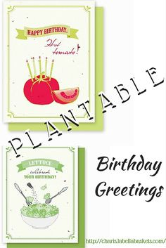 Give a truly unique birhday greeting! Each card has seeds that grow either small red cherry tomatoes or oak leaf lettuce. The recipient can plant their card in the ground to grow their own gourmet garden. Planting instructions are printed on the back of every card. Truly unique and guaranteed to impress the cook, gardener, or anyone in your life. http://charis.labellabaskets.com/
