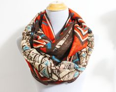 Brown Taupe Aztec Infinity Scarf Chunky Aztec Pattern Scarf Infinity Scarf Loop Scarf by dailyaccessoriez on Etsy https://www.etsy.com/transaction/159840542