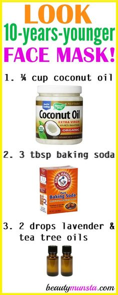 Do you want to look 10 years younger? Try using coconut oil and baking soda for wrinkles 3 times a week! What Coconut Oil and Baking Soda Does for Wrinkles Coconut oil and baking soda are both amazing anti-aging ingredients. Baking soda helps with cleans Baking Soda Shampoo, Skin Cleanse, Healthy Cleanse, Tips Belleza, Belleza Natural, Anti Aging Skin Care, Anti Aging Tips, Anti Aging Mask, Anti Aging Products