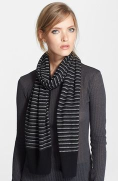 Free shipping and returns on rag & bone 'Jillian' Stripe Scarf (Nordstrom Exclusive) at Nordstrom.com. A moody neutral palette and striped motif lend styling versatility to a cozy scarf blended with fine merino wool yarns.