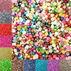 Venta 5 MM 600 unid/lote Mitad FlatBack Redondo de Acrílico Perlas de Perlas de Imitación Para DIY Decoración Del Arte Del Clavo Diseña Accesorios de La Joyería