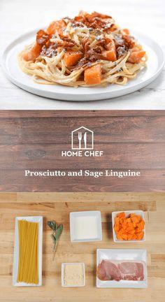 Prosciutto and Sage Linguine with roasted butternut squash Giada Recipes, Chef Recipes, Italian Recipes, Healthy Recipes, Healthy Food, Butternut Squash Ravioli, Roasted Butternut Squash, Cheesy Sauce, Home Chef