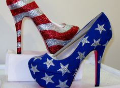WOMENS Custom Made to Order AMERICAN FLAG .. 4th of July Heels All Sizes