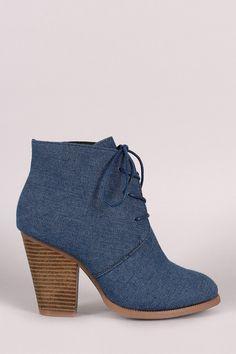 Liliana Denim Almond Toe Chunky Heel Booties